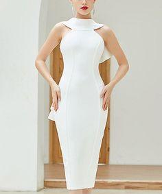 Look at this #zulilyfind! White Back-Bow Sleeveless Bodycon Dress - Women #zulilyfinds White Bandage Dress, Bodycon Dress, Holiday Party Dresses, Amazing Women, High Neck Dress, Bows, Fancy, Wedding Dresses, Sexy