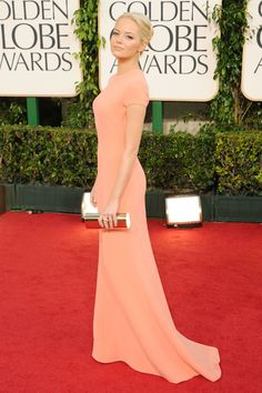 Emma Stone is as pretty as a peach in Calvin Klein at the 2011 Golden Globes