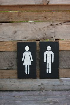 These restroom signs are hand-painted black with vanilla figures then lightly distressed. Perfect for restroom doors, shelves or wall art in the