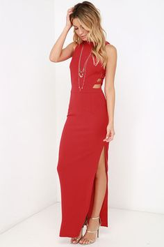 Get glamorous, with a bit of spice in the Intents and Purposes Red Sleeveless Maxi Dress! Medium-weight knit fabric begins at a funnel neckline atop a darted, sleeveless bodice with caged cutouts at the sides. Banded waist leads into a darted maxi skirt with a daring, thigh-high side slit. Hidden back zipper with clasp.