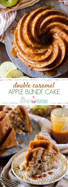 So much caramel! This Double Caramel Apple Bundt Cake isn't just boasting - moist caramel cake, loaded with apples and a little spice, then doused in even more caramel sauce for a deliciously sweet dessert experience! Apple Desserts, Fall Desserts, Apple Recipes, Sweet Desserts, Baking Recipes, Sweet Recipes, Delicious Desserts, Easter Desserts, Cupcake Recipes