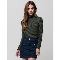 Full Tilt Striped Mock Neck Womens Tee ($23) ❤ liked on Polyvore featuring tops, t-shirts, olive, striped long sleeve tee, cotton tee, stripe t shirt, crop tee and striped tee