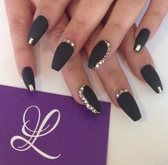 Matte black with gold bling coffin nails