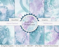 TEAL WATERCOLOR Digital Paper Commercial Use by ClipArtBrat
