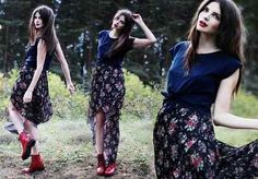 floral maxi skirt and navy t'shirt