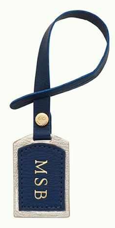 personalized navy luggage tag