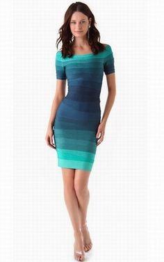 Herve Leger outlet Off shoulder Ombre bandage Dress blue $187.00