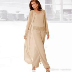 Mother of the Bride Dress pant Suit 3 Piece Summer Long Sleeves Jacket Plus Size Mother Of The Bride Suits, Mother Of Bride Outfits, Mother Of Groom Dresses, Mothers Dresses, Mother Of The Bride Dresses Plus Size, Queen Wedding Dress, Wedding Pantsuit, Wedding Attire, Wedding Dresses