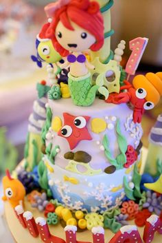 thetruhappiness's Birthday / Under the Sea - Photo Gallery at Catch My Party Kids Birthday Themes, Disney Birthday, Birthday Parties, Birthday Cake, Geek Party, Mad Tea Parties, Ocean Party, Winter Wonderland Party, Little Mermaid Parties