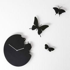 Orologio da parete Butterfly rotondo in metallo laccato Ø 40 Con 3 farfalle