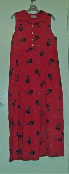ZIP CODE Sleeveless Red Full Length 100% Cotton Summer Dress Fish Print Size L  | eBay