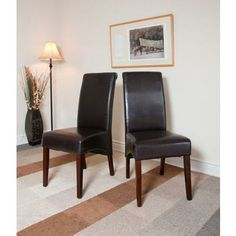 $169.00 The Avalon Dining Chair is a stylish upgraded Parson chair with an elegant & stylish look. This faux leather chair is crafted in solid wood and comes with web suspension on the seat for added comfort. A stylish addition for any dining or kitchen table setting. Sold 2 chairs per packages.