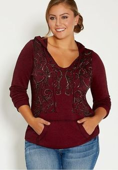 13440ebd330 Maurices Women s Plus Size Burgundy Black Graphic Long Sleeve Hoodie Top Sz  1