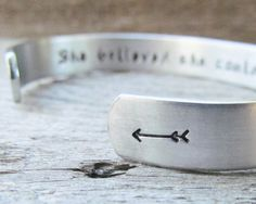 Bracelet Secret Message Hand Stamped Jewelry Cuff Aluminum She Believed She Could So She Did Quote Personalized Inspirational Milestone I can use this a the cuff