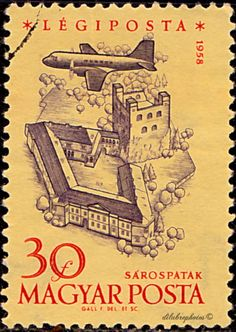 Hungary. Plane over Sarospatak. Scott C192 AP61, Issued 1958 Dec. 31, Engr., Wmk. 106, 30. /ldb.