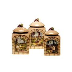 Certified International Tuscan View 3-pc. Kitchen Canister Set, Multicolor