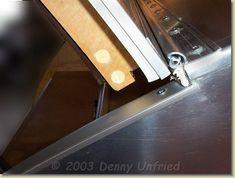 Close up of hatch hinge.