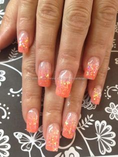 Mango acrylic with glitter fade acrylics Taken AM Uploaded PM Technician:Elaine Moore Peach Nails, Pink Nails, Glitter Nails, Orange Nail Art, Orange Nails, Toe Nail Art, Toe Nails, Acrylic Nails, Faded Nails