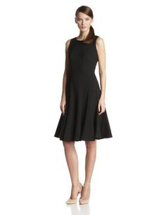 0e26ffa93bf Calvin Klein Women s Sleeveless Solid Fit-and-Flare Dress at Amazon Women s  Clothing store