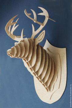 Купить Голова Оленя - бежевый, голова, олень, оформление интерьера, фанера, декор для интерьера, дерево
