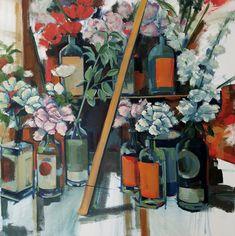 For Sale on - Bottle Garden, Painting, Oil on Canvas, Oil Paint by Jenn Hallgren. Offered by Zatista. Paintings I Love, Original Paintings, Original Art, Oil On Canvas, Canvas Art, Garden Painting, Painting Flowers, Balance Art, Bottle Garden