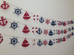 Nautical Banner - Sailboat, Anchor, Life Preserver and Ship Steering Wheel - Party or Wedding Banner Sailor Party, Sailor Theme, Nautical Banner, Nautical Party, Baby Boy Shower, Party Themes, Party Ideas, Wedding Themes, First Birthdays