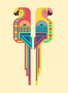 Samy Halim's Geometric Birds Illustrations (Made on iPad) Madhubani Art, Madhubani Painting, Geometric Bird, Geometric Painting, Geometric Designs, Geometric Shapes, Motifs Textiles, Afrique Art, Indian Folk Art