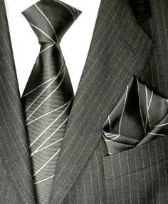 Lorenzo Cana Luxury Italian Pure Silk Woventie Hanky Set Charcoal Gray Neck Tie 8418701