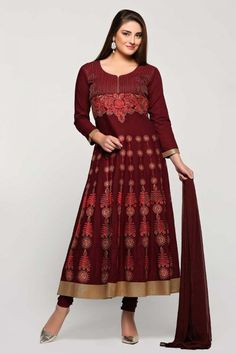 Diya collection, Anarkali churidar cotton suit for eid, Maroon resham embroidered dresses now in shop. Andaaz Fashion brings latest designer ethnic wear collection in UK   http://www.andaazfashion.co.uk/salwar-kameez/anarkali-suits/maroon-cotton-anarkali-churidar-suit-with-dupatta-1755.html