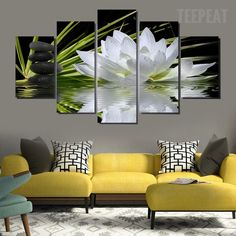 Lotus White Flowers - 5 Piece Canvas #prints #prntable #painting #canvas #empireprints #teepeat