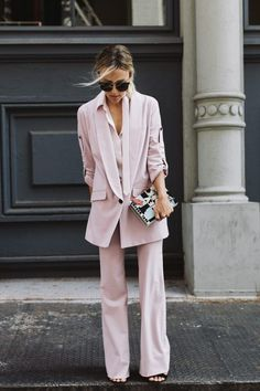 This would be tough to pull off, but it looks AMAZING on Jacey! I love this pink suit with the longline jacket at flared trousers!! // Damsel in Dior | New York Fashion Week Part One