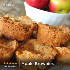 "Apple Brownies | ""Soooooo amazing, I seriously ate almost the whole pan in one sitting. The only thing I did different was I didn't melt the butter I just creamed it with the sugar and added a teaspoon of vanilla. I will be making this again!"""
