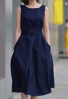 Classic, Navy belted Dress.