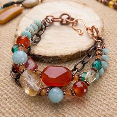 Carnelian and Amazonite Bracelet in Copper Chunky by RococoRiche