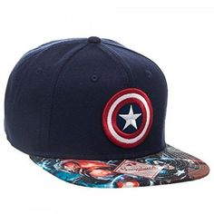 a510ac24b1b19 Marvel Comics Captain America Sublimated Bill Logo Snapback Hat Cap Shield  Star for sale online