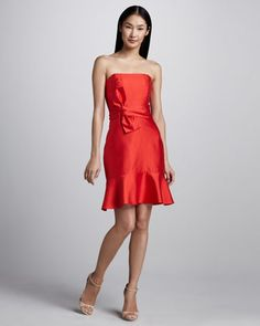 @Joel Redd - with a shawl or wrap?  justina strapless bow-waist dress by kate spade new york at Neiman Marcus.