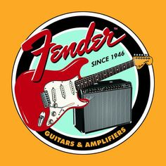 "Round TIN SIGN- ""Fender  Guitars  Amplifiers""  Man Cave  Metal Wall Art #Fender"