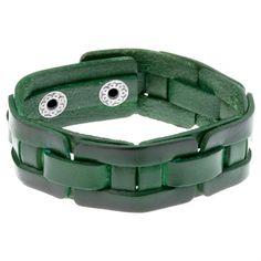 'Forest' Aged Green Leather Men's Bracelet