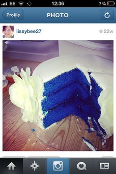 Royal blue wedding cake cut into.. How nice is that??? Got to have this as the inside of our cake