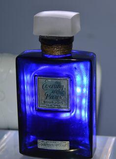 Vtg. Evening In Paris Bourgois New York Perfume Bottle w/ Frosted Glass Stopper