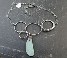 Genuine Seafoam Sea Glass and Loops Modern Unique by stacilouise