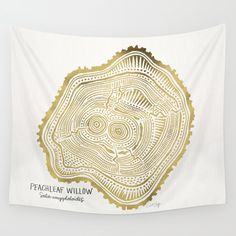 Peachleaf Willow � Gold Tree Rings Wall Tapestry. #painting #illustration #nature #pattern #dendrochronology #tree #tree-rings #trunk #organic #wood #leaves #growth-rings #cross-section #forest #wildlife #animals #living #life #live