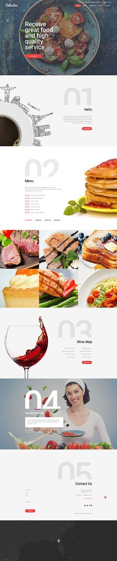 Template 57803 - Delicatos Restaurant  Responsive Website Template (Step Design Layout) #ResponsiveWebDesign