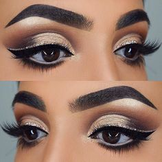 23 stunning make-up ideas for fall and winter # . - Schönheit - Eye Make up Sexy Eye Makeup, Pretty Eye Makeup, Glitter Eye Makeup, Cat Eye Makeup, Stunning Makeup, Stunning Eyes, Eye Makeup Tips, Smokey Eye Makeup, Makeup Inspo