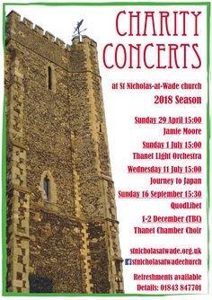 Charity Concerts at St Nicholas-at-Wade church (Thanet, East Kent) in 2018 - poster