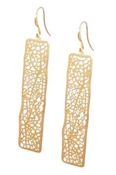 Unique long rectangular earrings with lacy leafy design. Earrings measures approximately 2 x inch. Gold plated and tarnish resistant. Golden Jewelry, Lead Free, Bling, Drop Earrings, Jewels, Jewellery, Yellow, My Style, Accessories