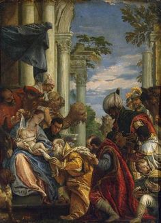 Adoration of the Magi - Paolo Veronese. 45 x 35 cm. The State Hermitage Museum, St. Italian Renaissance, Renaissance Art, Michelangelo, Venetian Painters, Italian Paintings, Jesus Christus, Hermitage Museum, Art Database, Oil Painting Reproductions