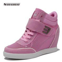 New 2016 Women Summer Platform Shoes Woman Hook&Loop Air Mesh High Top wedges Casual Shoes Women's Walking Shoes Chaussure Femme