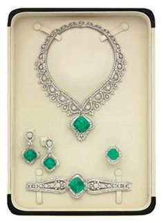 Emerald and Diamond Parure by Elie Chatila.
