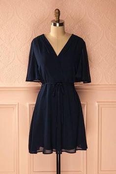 Aliya Navy - Navy blue flowy dress